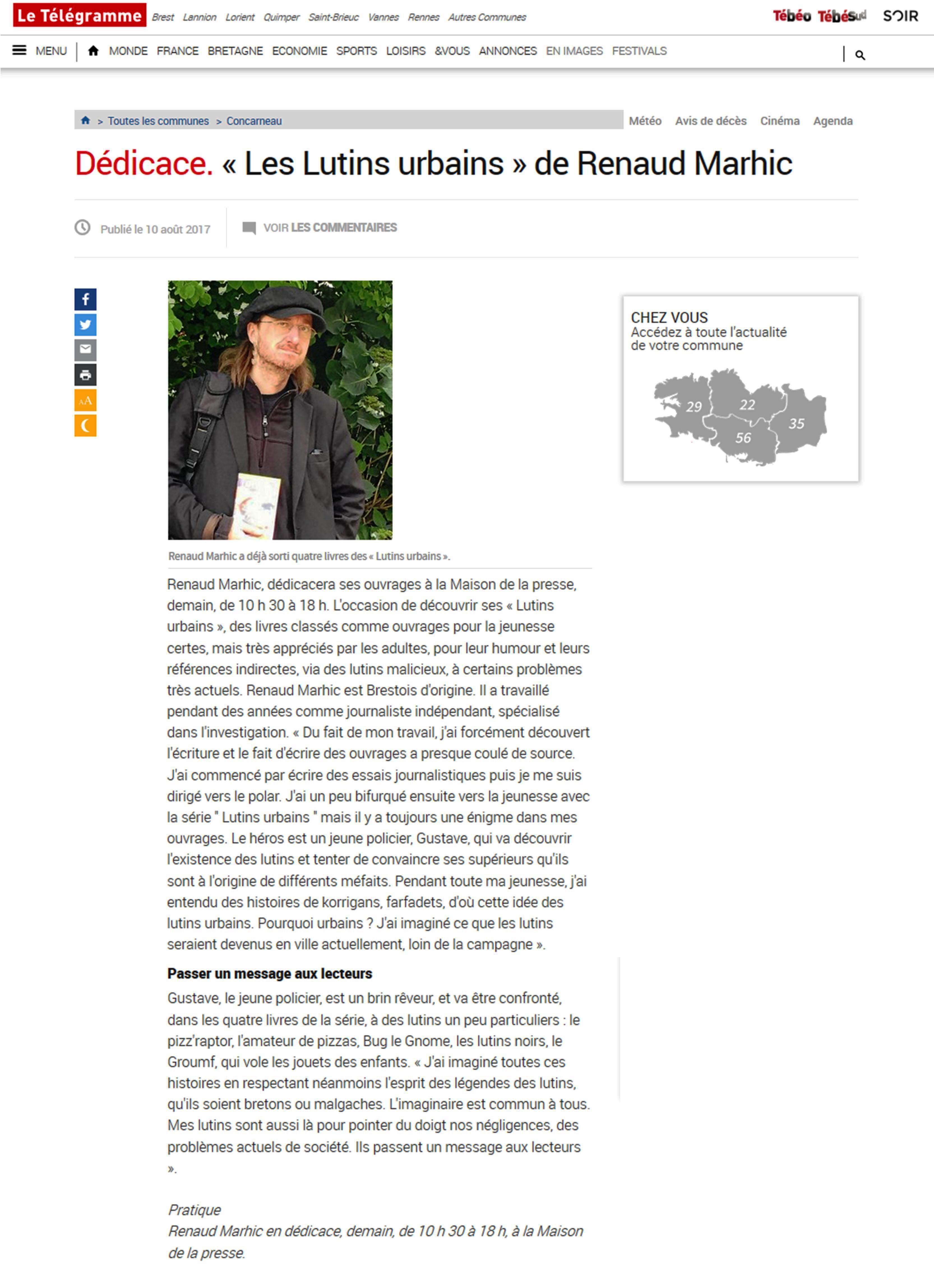 Petit Reporter de l'Imaginaire : dans le journal à Concarneau