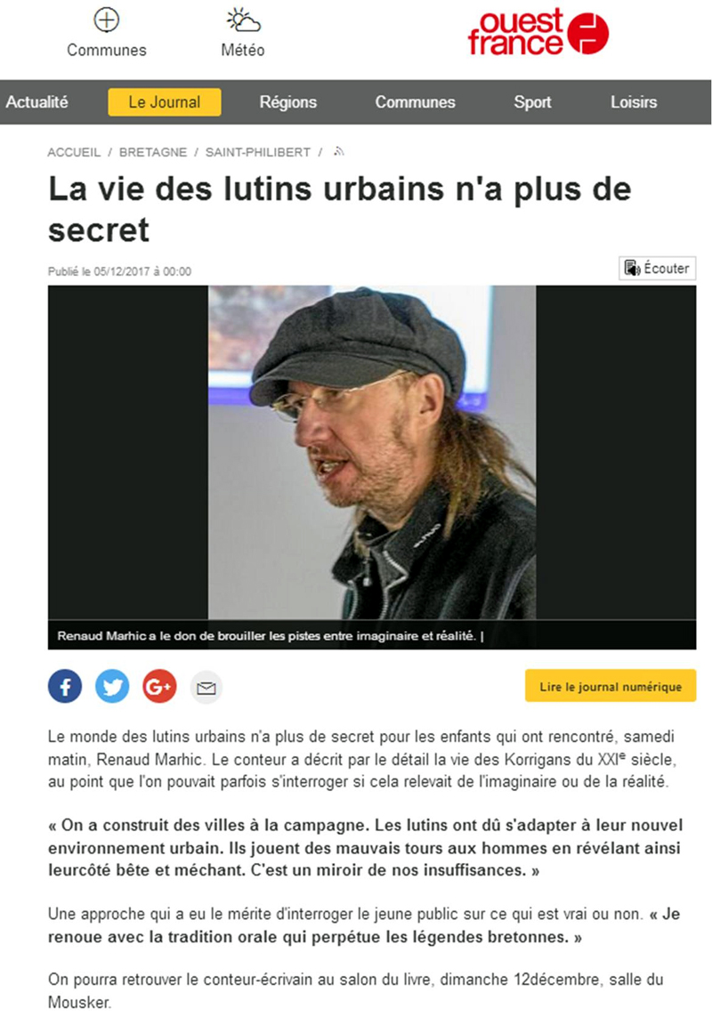 Renaud Marhic et les Lutins Urbains dans Ouest France - les urbins