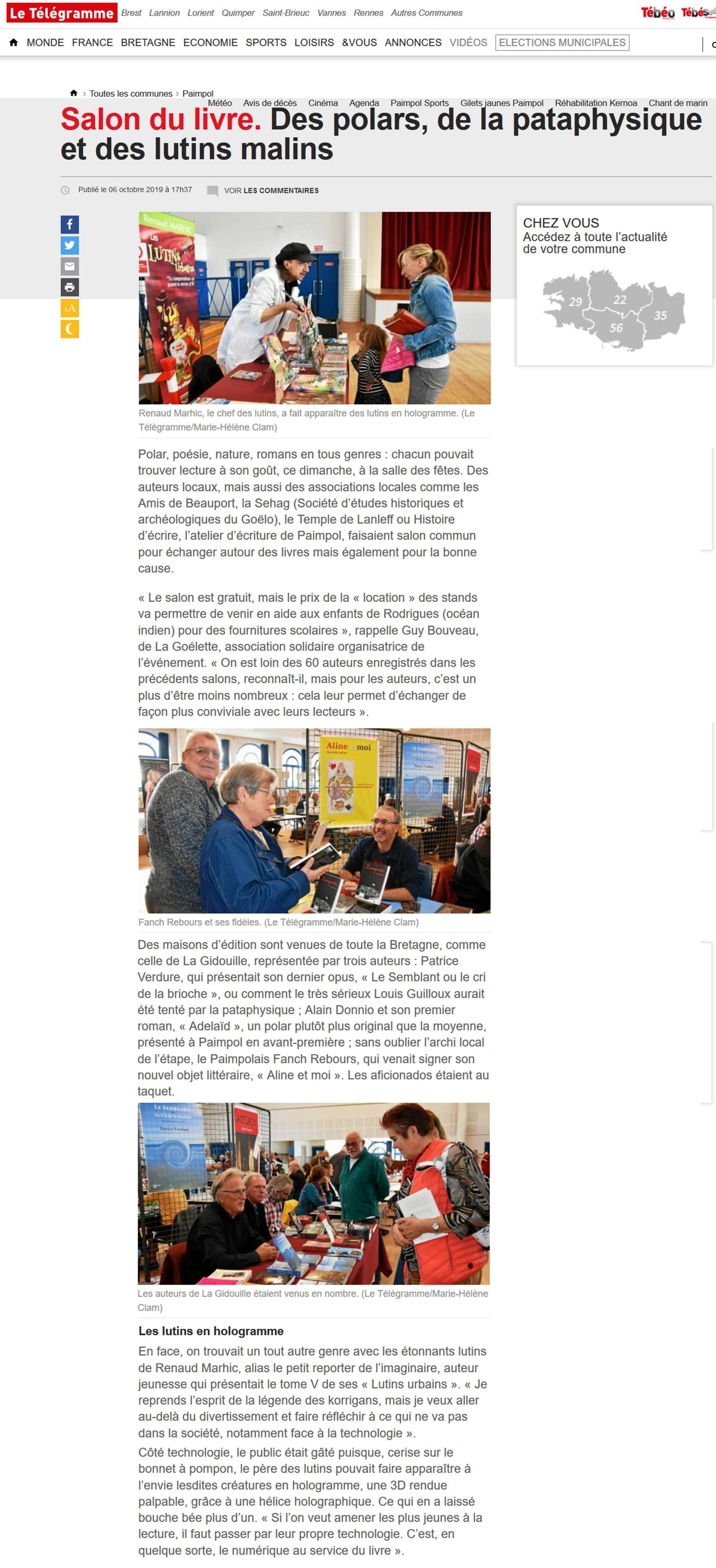 Petit Reporter de l'Imaginaire : dans le journal à Paimpol - Télégramme